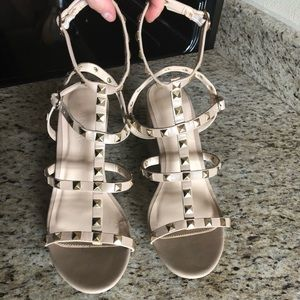 Tan Studded Sandals